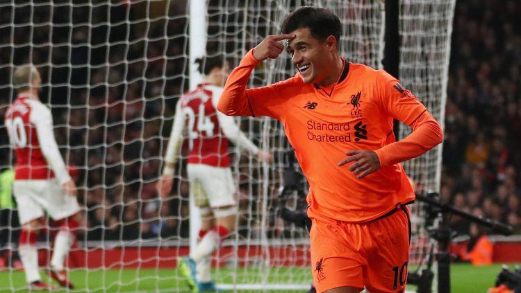 Selebrasi Philippe Coutinho usai mencetak gol Copyright: © INDOSPORT
