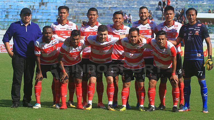 Skuad Madura United. Copyright: © Ian Setiawan/INDOSPORT
