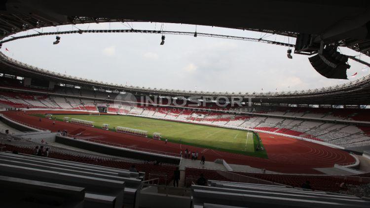 Situasi dalam stadion Gelora Bung Karno yang akan digunakan laga persahabatan antara Timnas Indonesia vs Islandia pada Minggu (14/01/18) mendatang. Herry Ibrahim Copyright: © Herry Ibrahim/INDOSPORT