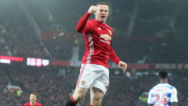 Wayne Rooney selebrasi saat bersama Man United. Copyright: © Getty Images