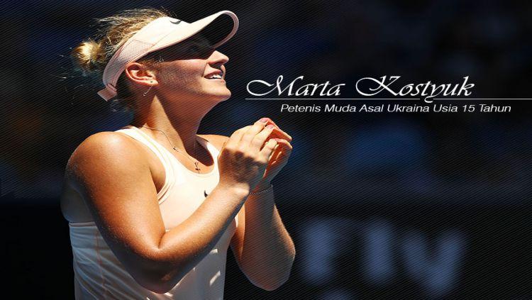 Marta Kostyuk (Pemegang rekor sebagai petenis termuda yang lolos babak ketiga Turnamen Grand Slam) Copyright: © Indosport.com