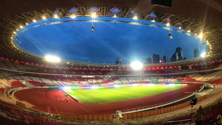 Lampu Stadion GBK. Copyright: © makassar.terkini.id/Kementerian PU