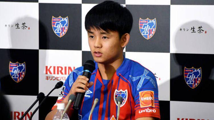 Takefusa Kubo dalam jumpa pers. Copyright: © Getty Images