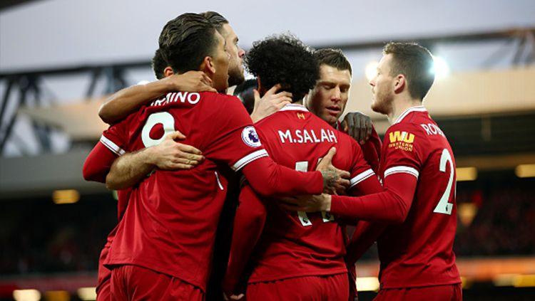 Para pemain Liverpool saat berlaga di lapangan. Copyright: © INDOSPORT