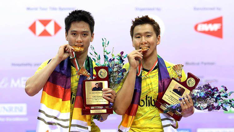 kevin/Marcus meraih gelar juara di India Open 2018 Copyright: © Humas PBSI