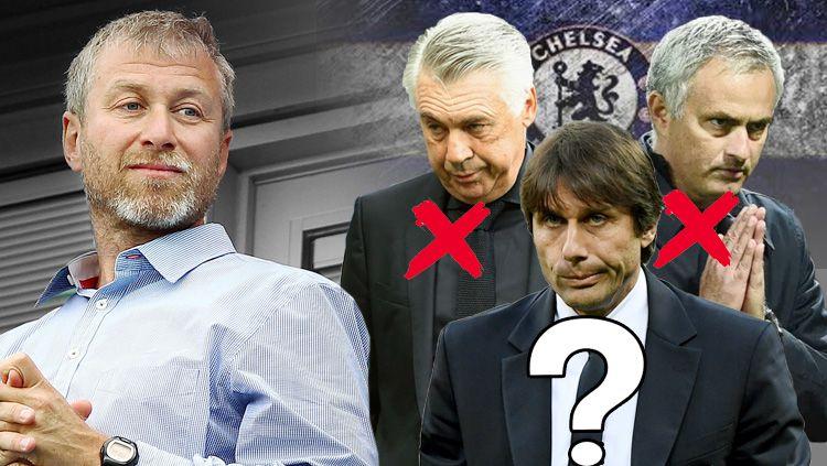 Roman Abramovich, Carlo Ancelotti, Jose Mourinho, dan Antonio Conte. Copyright: © Grafis: Eli Suhaeli/INDOSPORT