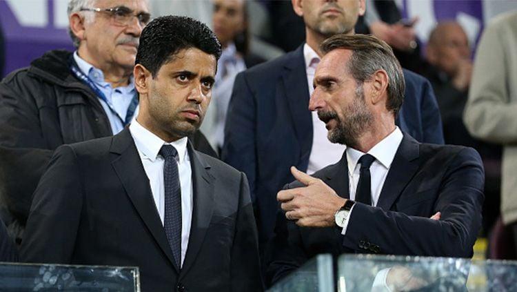 Pemilik PSG Nasser Al Khelaifi (kiri). Copyright: © Getty Images