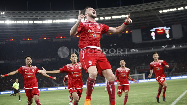 Marko Simic merayakan gol yang dicetaknya ke gawang Bali United di Final Piala Presiden 2018. Copyright: © Herry Ibrahim/INDOSPORT