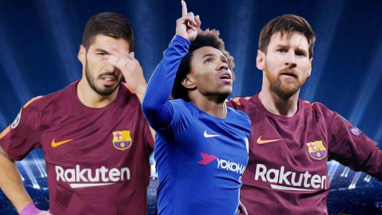 Luis Suarez, Willian, dan Lionel Messi. Copyright: © Grafis: Eli Suhaeli/INDOSPORT