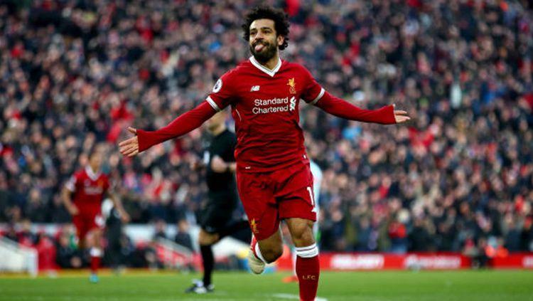 Selebrasi Mohamed Salah seteah membobol gawang West Ham United. Copyright: © INDOSPORT