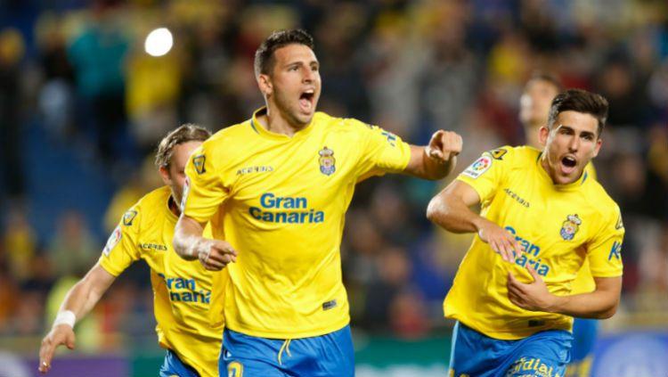 Las Palmas saat berhasil menjebol gawang Barcelona Copyright: © laliga.es
