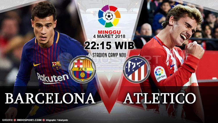 Prediksi Barcelona vs Atletico Madrid Copyright: © Grafis:Yanto/Indosport.com