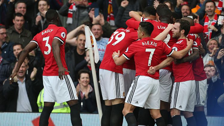 Aksi selebrasi pemain Man United melawan Liverpool. Copyright: © Getty Images