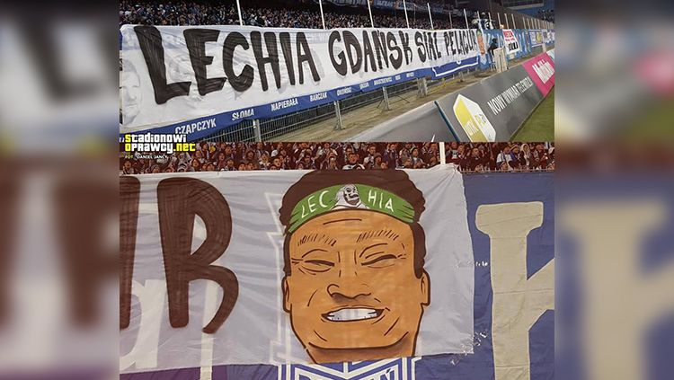 Spanduk Ultras Lech Poznan. Copyright: © Istimewa