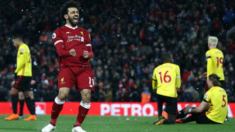 Mohamed Salah selebrasi pasca mencetak gol ke gawang Watford. Copyright: © INDOSPORT