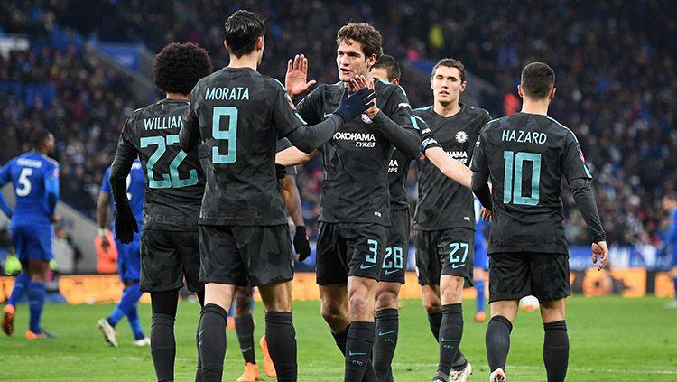 Selebrasi para pemain Chelsea usai Alvaro Morata mencetak gol pertama Chelsea. Copyright: © INDOSPORT