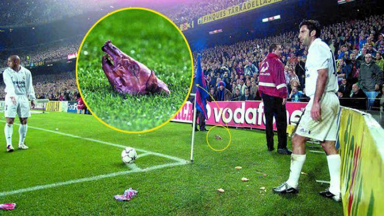 Luis Figo mendapat lemparan kepala babi dari fans Barcelona dalam sebuah pertandingan El Clasico Copyright: © naijaqueenolofofo.com