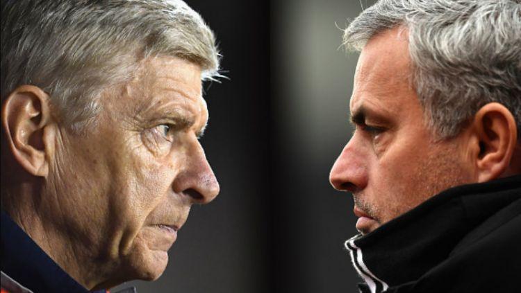 Pelatih Arsenal, Arsene Wenger dan Jose Mourinho, pelatih Man United. Copyright: © INDOSPORT