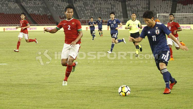 Aji Kusuma merayakan golnya ke gawang Jepang U-19. Copyright: © Abdurrahman Ranala/INDOSPORT