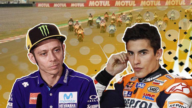 Marc Marquez dan Valentino Rossi. Copyright: © INDOSPORT