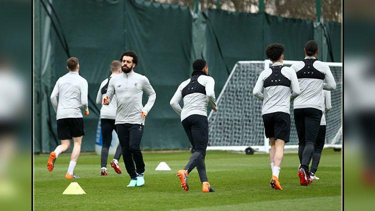 Skuat Liverpool saat sedang latihan. Copyright: © Getty Image