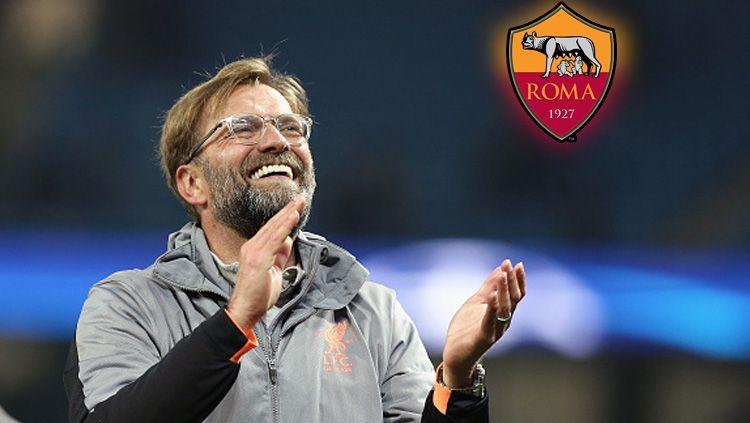Pelatih Liverpool, Jurgen Klopp (insert: Logo AS Roma). Copyright: © INDOSPORT