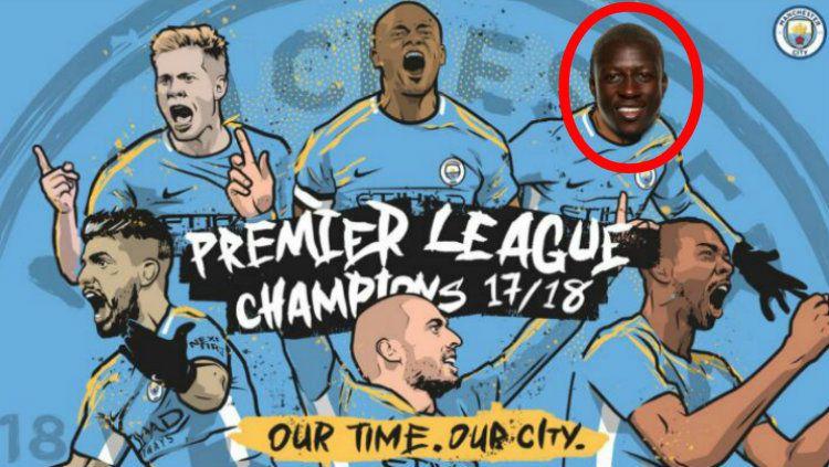 Poster Juara Man City yang disunting Mendy. Copyright: © twitter/benmendy23