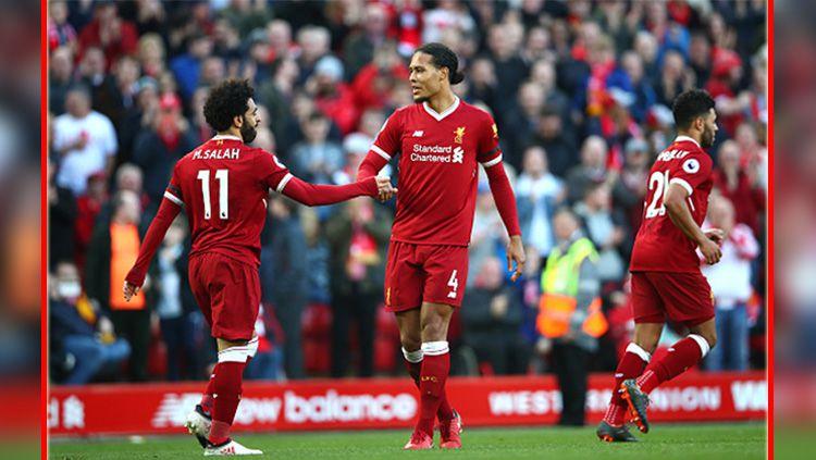 Mohamed Salah dan Virgil van Dijk, dua pemain bintang Liverpool. Copyright: © Getty Images