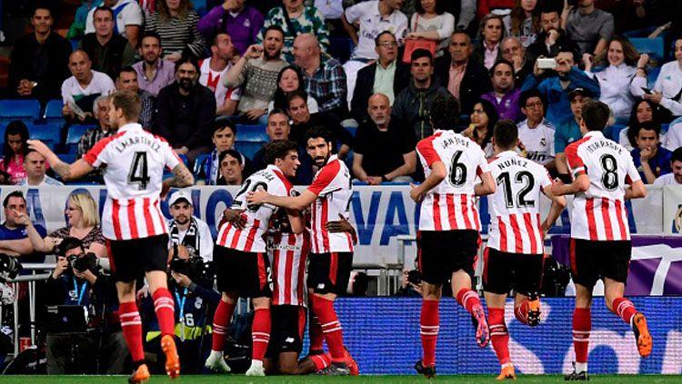 Selebrasi para pemain Athletic Bilbao setelah unggul lebih dulu atas Real Madrid. Copyright: © Getty Images