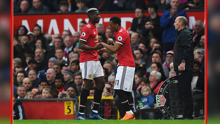 Paul Pogba dan Anthony Martial, dua pemain bintang Man United. Copyright: © INDOSPORT