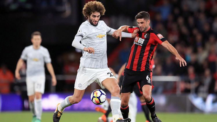 Marouane Fellaini saat melawan Bournemouth. Copyright: © Getty Images