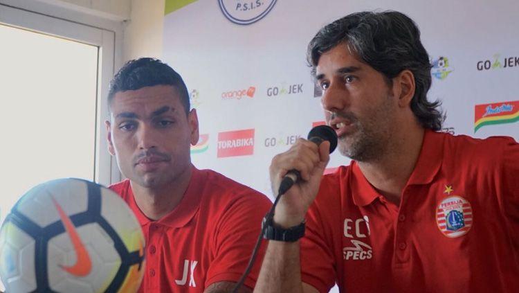 Jaimerson da Silva Xavier dan Stefano Cugurra Teco dalam jumpa pers. Copyright: © Media Persija