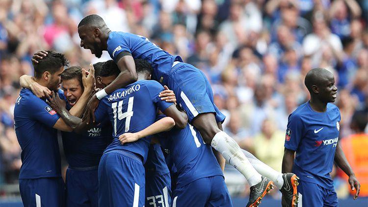 Selebrasi gol Chelsea atas Southampton di final Piala FA. Copyright: © INDOSPORT