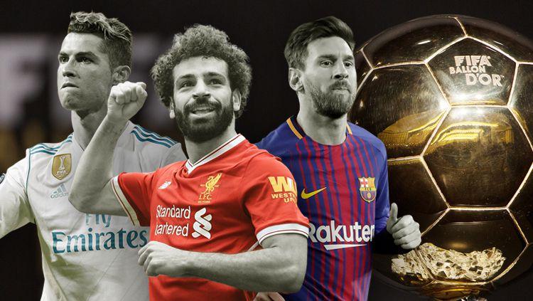 Cristiano Ronaldo, Mohamed Salah, dan Lionel Messi. Copyright: © INDOSPORT