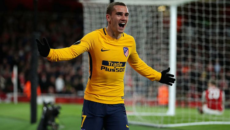 Antoine Griezmann merayakan golnya. Copyright: © Getty Images