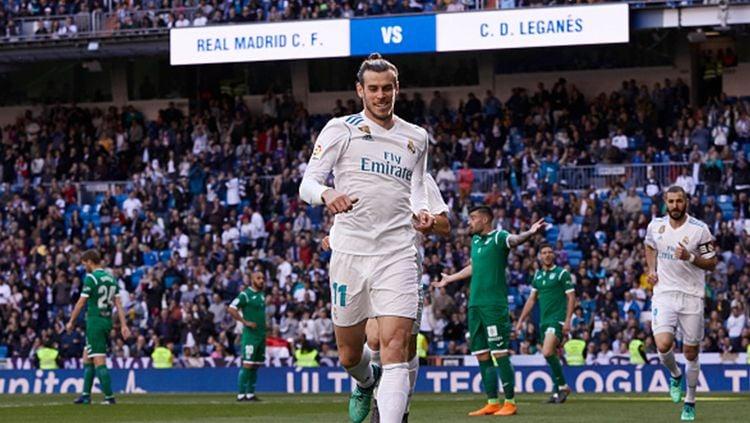 Gareth Bale merayakan gol yang dicetaknya ke gawang Leganes. Copyright: © INDOSPORT