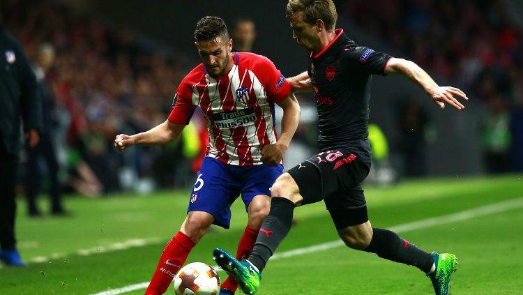 Skuat Atletico Madrid merayakan golnya ke gawang Arsenal. Copyright: © INDOSPORT