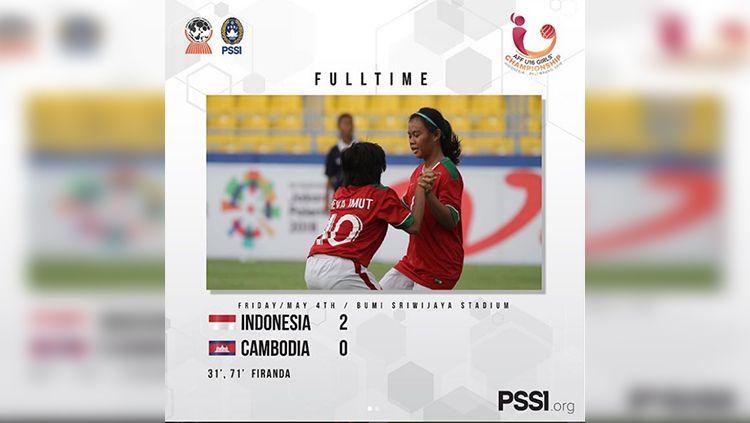 Timnas U-16 Putri kalahkan Kamboja. Copyright: © Instagram@PSSI_fai