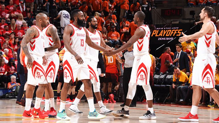 Selebrasi pemain Houston Rockets. Copyright: © INDOSPORT