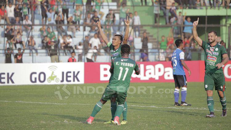 Selebrasi pemain PSMS Medan. Copyright: © Kesuma Ramadhan/INDOSPORT