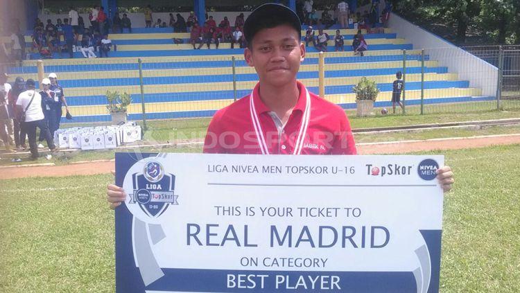 Pemain Big Star Babek, Usman Fatahillah  yang terpilih ke Real Madrid di Liga Nivea Men Topskor U-16 2018. Copyright: © Tiyo Bayu Nugroho/INDOSPORT