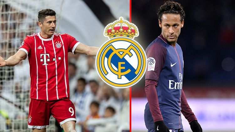 Striker Bayern Munchen, Robert Lewandowski dan striker PSG, Neymar Jr. kerap disandingkan dengan Real Madrid. Copyright: © INDOSPORT