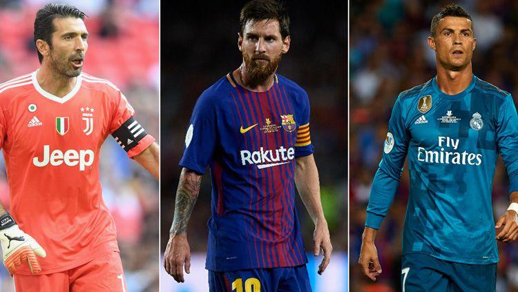 Gianluigi Buffon, Lionel Messi, dan Cristiano Ronaldo. Copyright: © INDOSPORT