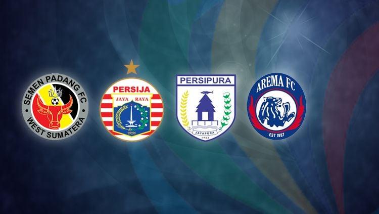 Semen Padang, Persija Jakarta, Persipura Jayapura, dan Arema FC. Copyright: © INDOSPORT