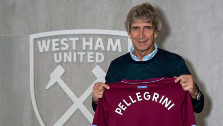 West Ham United resmi pecat Manuel Pellegrini setelah terperosok ke papan bawah Liga Inggris. Copyright: © Getty Image