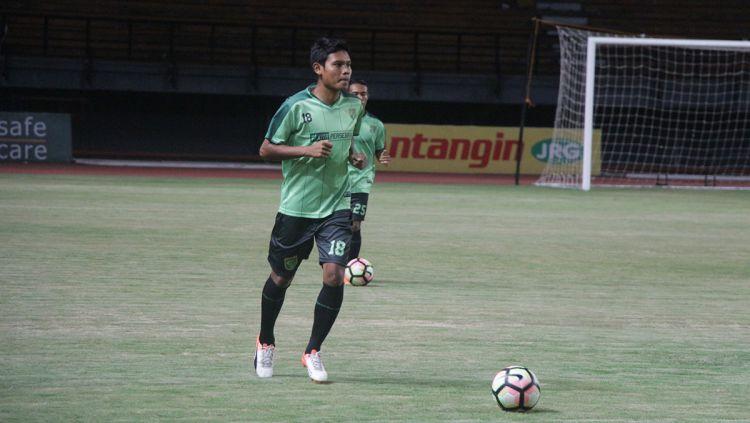 Pemain Madura United, Fachrudin Aryanto. Copyright: © Fitra Herdian/Indosport.com