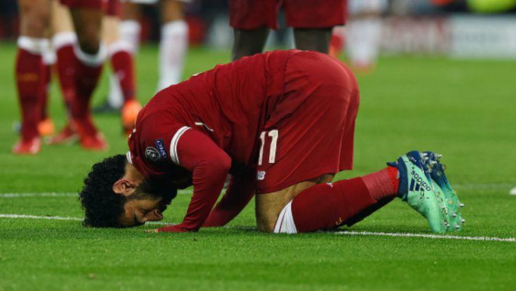 Selebrasi khas Mohamed Salah. Copyright: © Getty Image