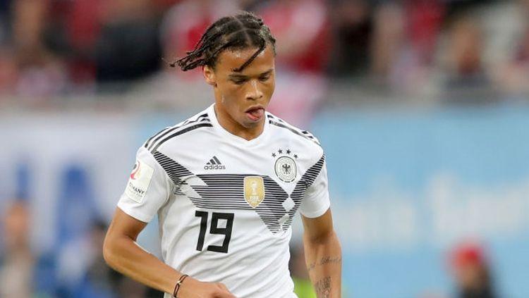 Pemain Tim Nasional Jerman Leroy Sane dengan gaya rambut baru. Copyright: © INDOSPORT.com