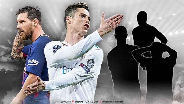 Duel Lionel Messi dan Cristiano Ronaldo. Copyright: © Indosport.com