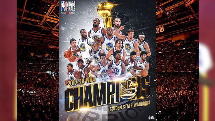 Golden State Warriors berhasil mempertahankan gelar di NBA 2017/18. Copyright: © nba